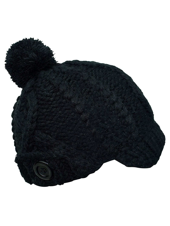 Luxury Divas Black Stretchy Knit Newsboy Cap With Pom Pom at Amazon Women s  Clothing store  Newsboy Caps 638529eae1e