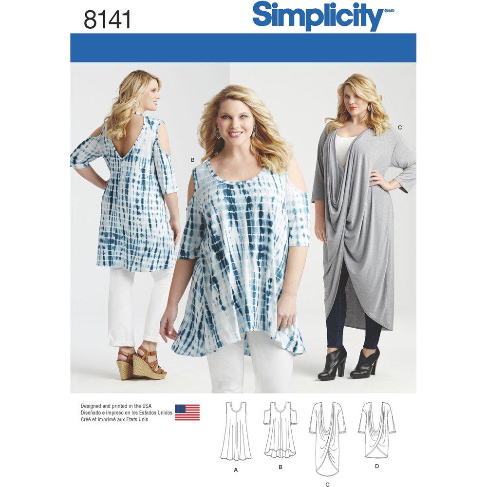 Simplicity Pattern 8141 Plus Size Knit Tunics and Mini Dress Sewing ...