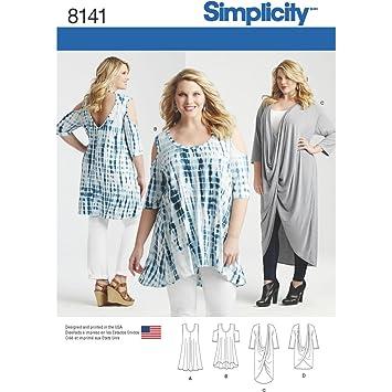 Simplicity Muster 8141 Plus Größe Knit Tuniken und Mini Kleid ...