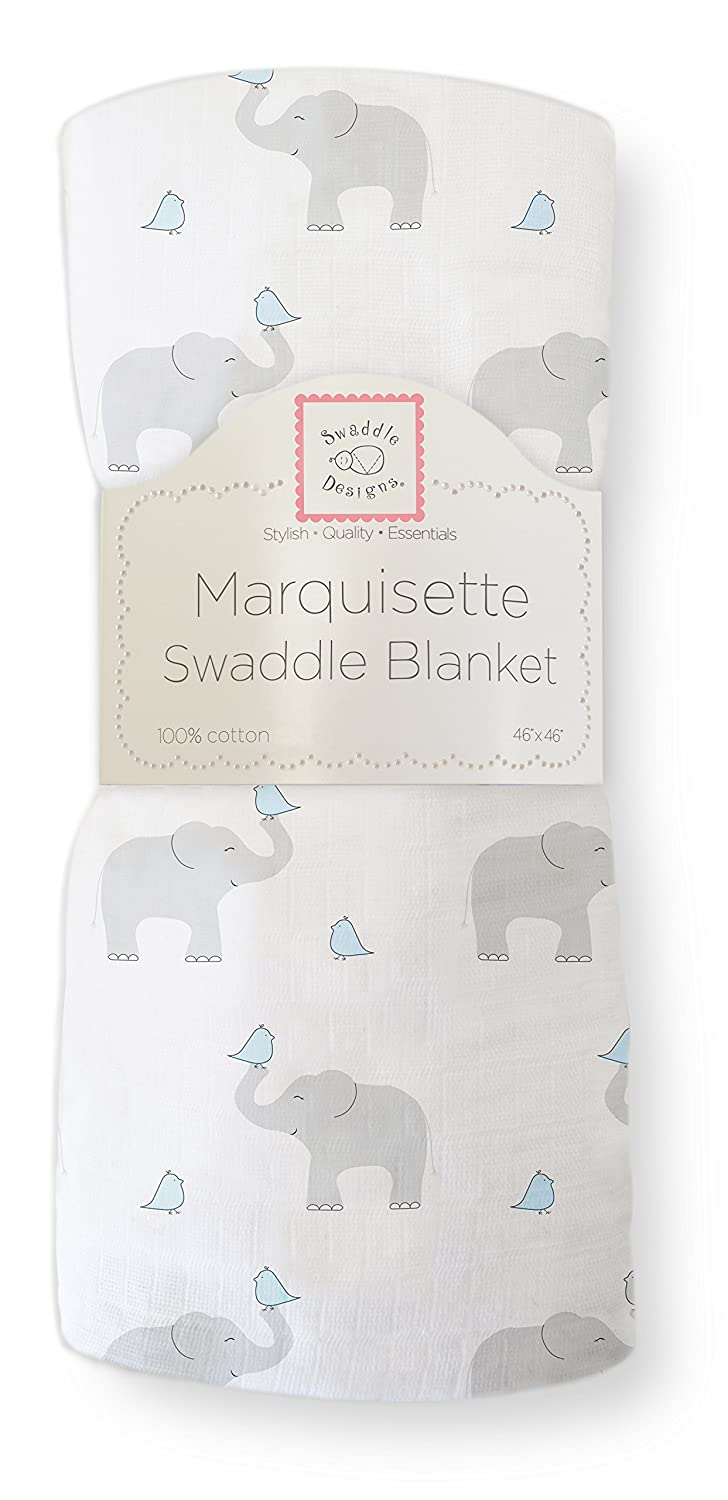 SwaddleDesigns Marquisette Swaddling Blanket, Premium Cotton Muslin, Elephant & Chickies, SeaCrystal SD-458SC