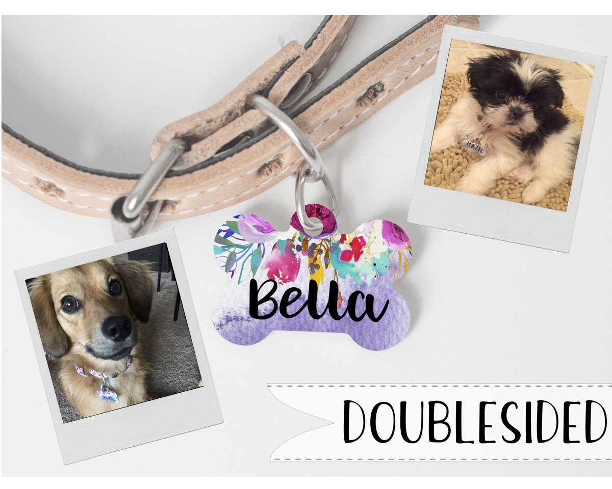 Personalized Dog Tag- Dog ID Tag- Floral