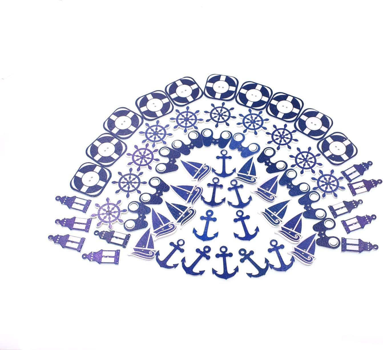 varios colores y tama/ños 2 agujeros para manualidades costura RayLineDo/® 60 botones de madera pintados de la serie Navigation botones de madera variedad de patrones