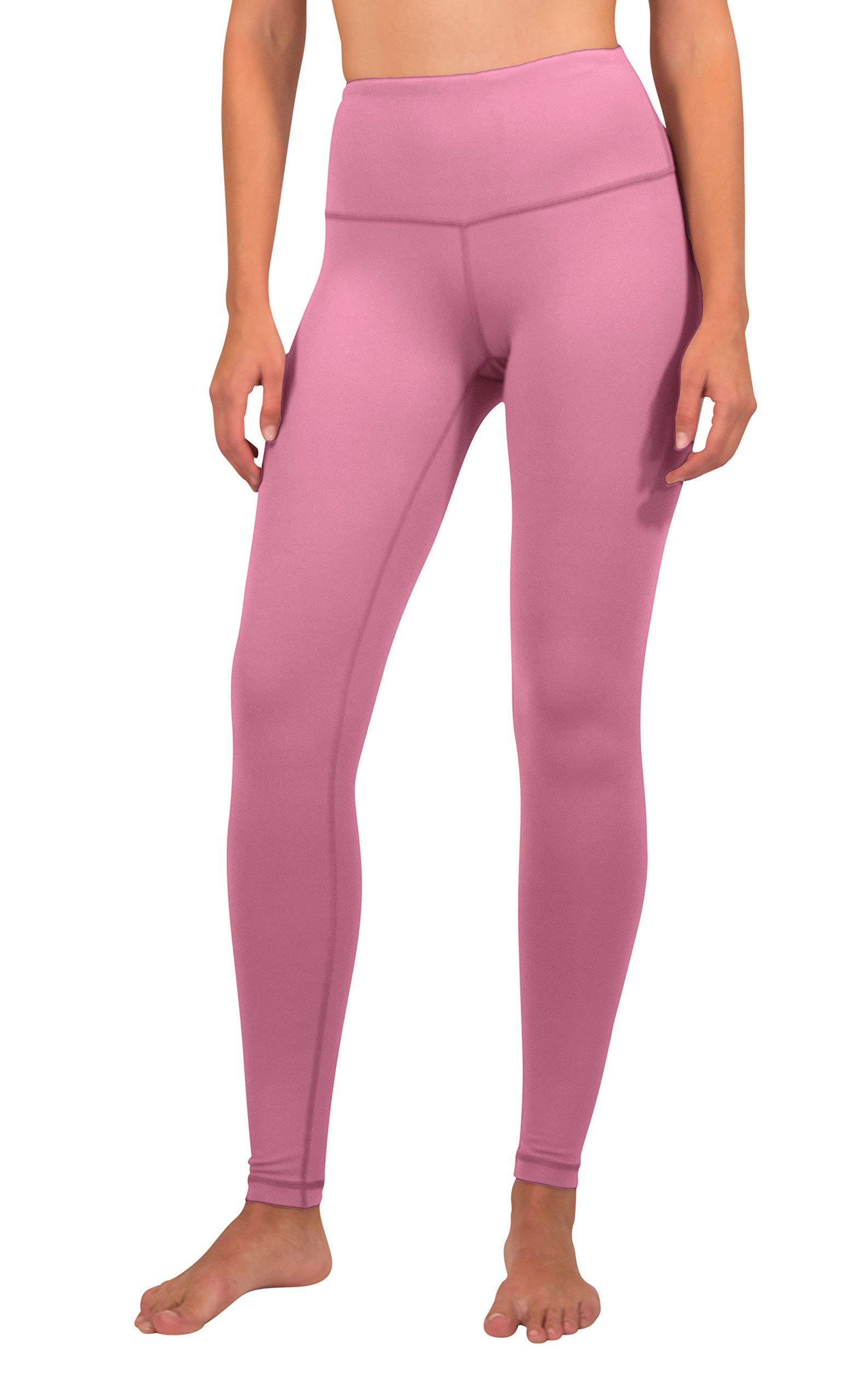 90 Degree By Reflex - High Waist Power Flex Legging - Tummy Control - Pink Ocean - Large by 90 Degree By Reflex