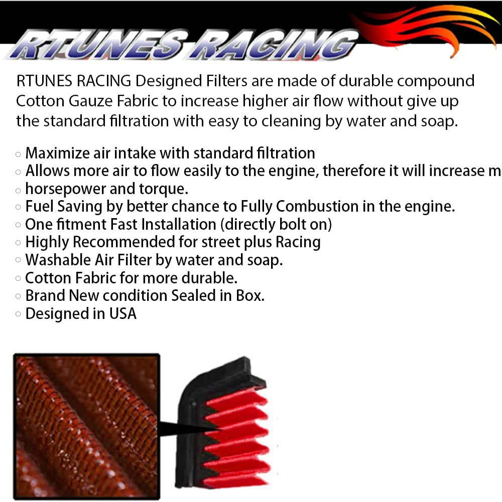 Rtunes Racing Short Ram Air Intake Kit Filter Combo RED Compatible For 01-05 Dodge Stratus 99-03 Mitsubishi Galant 00-05 Mitsubishi Eclipse