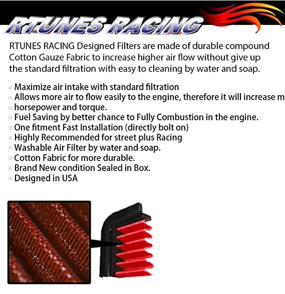 """RED 2.5 Inches 2.5/"""" Inlet 63mm Cold Air Intake Cone Dry Filter For Buick"""