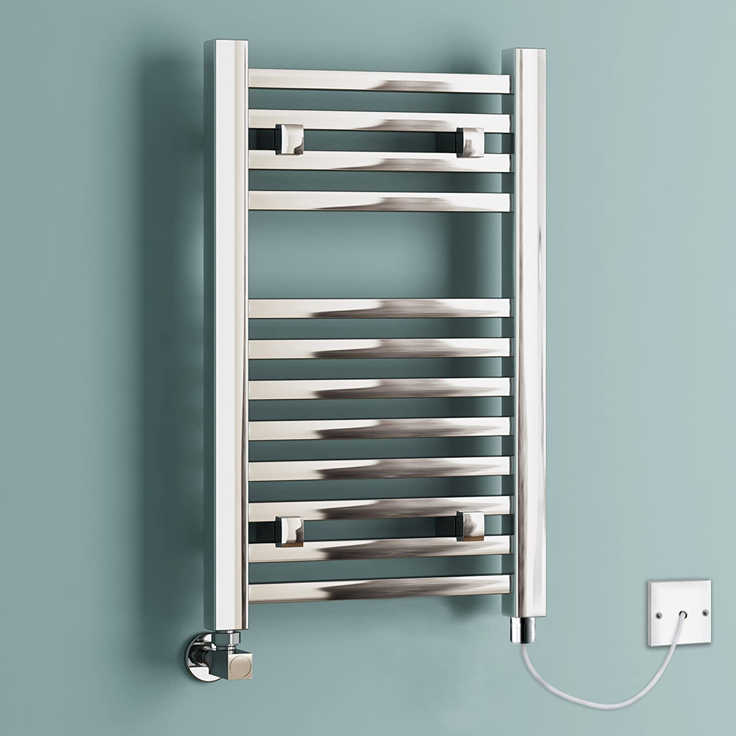 650 x 400 mm Electric Chrome Designer Square Towel Rail Radiator Heated Bathroom iBathUK