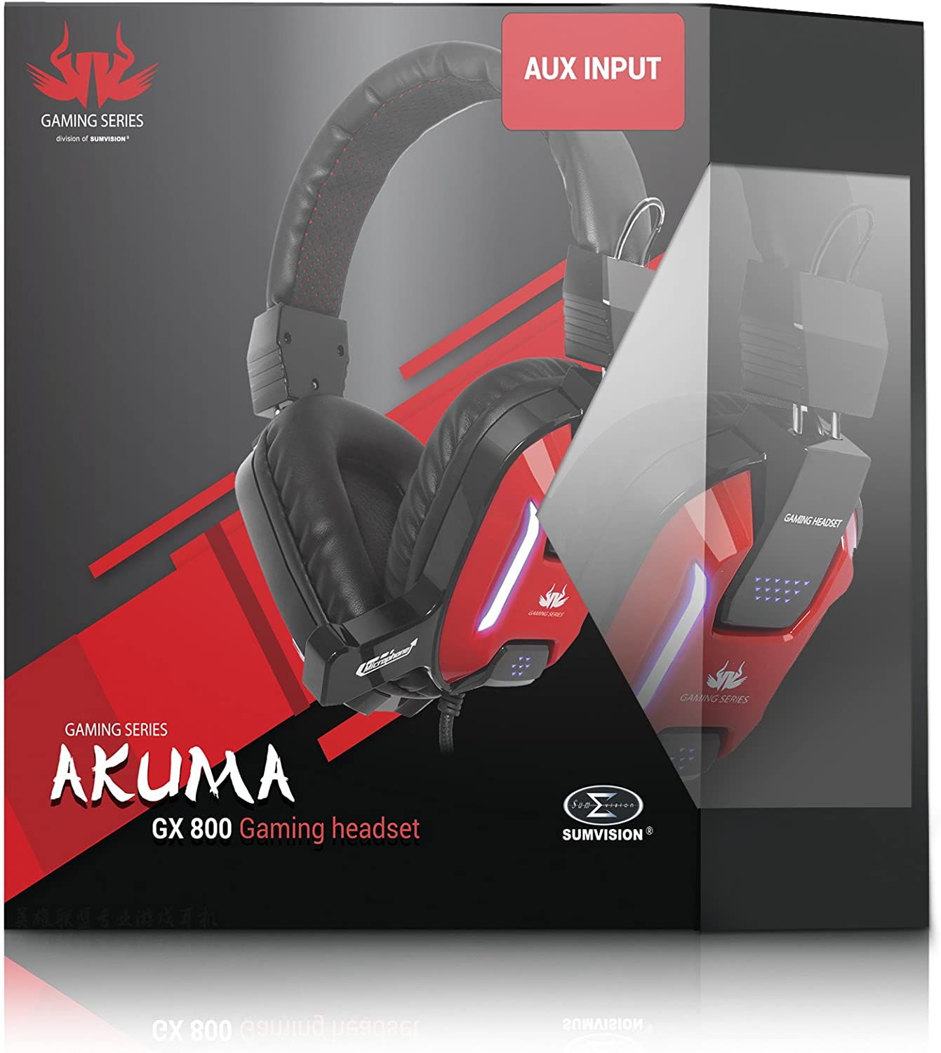 Sumvision® PC Gaming Headset Headphones Akuma GX 800 Wired USB LED Gaming Headset Headphones with Built In Microphone for Windows PC and Laptop