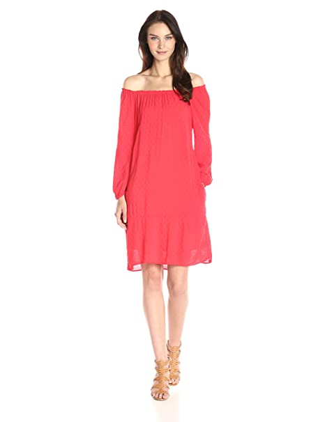 Velvet by Graham & Spencer Camiseta de Dobby Challis campesino vestido - Rojo -