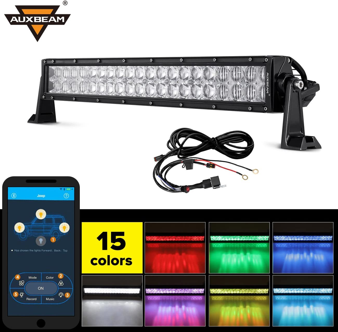 Amazon.com: Auxbeam 22 Inch RGB LED Light Bar Multi-color light bar 5D V  Series 120W Led Bar Off road Driving light Spot Flood Combo Beam with  Bluetooth App & Wiring Harness: AutomotiveAmazon.com