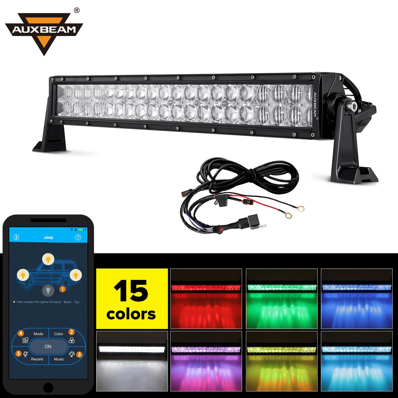 Auxbeam 22 Inch Rgb Led Light Bar Multi Color Details About Spot Flood Work Driving Wiring Button On Off 5d V Series 120w Road 3w Cree Leds Combo Beam With