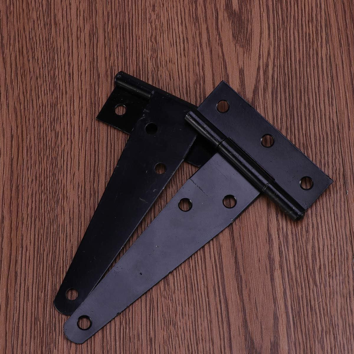Black Yardwe 6PCS 4 inch T-Strap shed Hinge gate Strap Light Duty gate Strap Hinge Door gate Hinges
