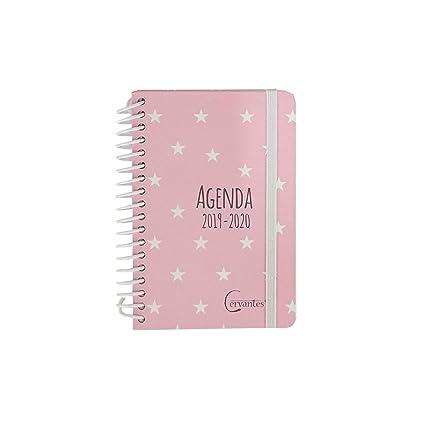 Agenda Escolar 2019-2020 formato pequeño (120x160 mm) español (Rosa Estrella Blanca)
