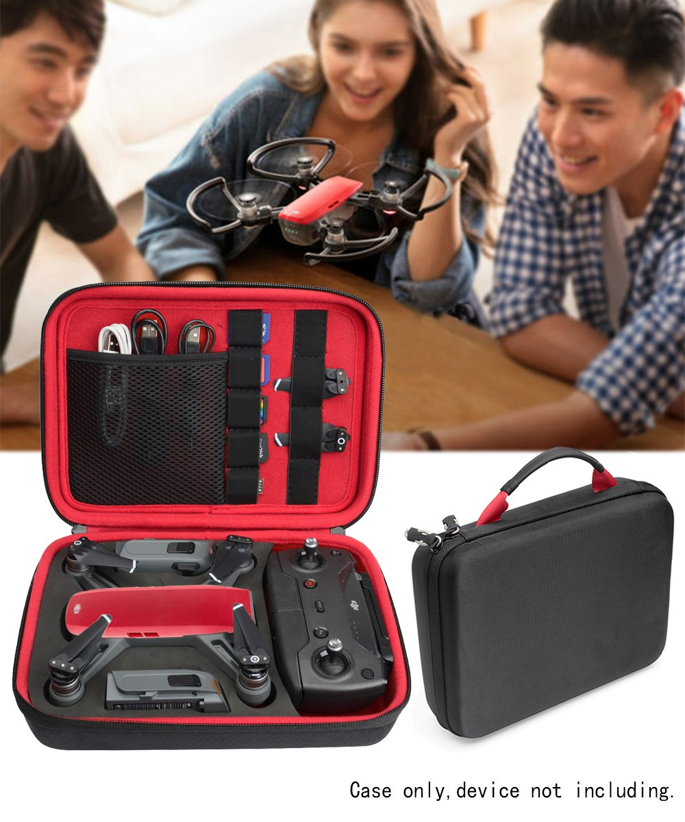 Protective Case for DJI Spark Portable Mini Quadcopter Drone, Slots for Charger adpter, 2 batteries and propellers, Pockets for USB, Cable, Micro SD Cards and Charger base (Black+Red)