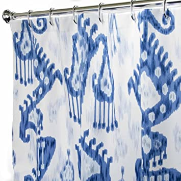 Amazon.com: Extra Long Shower Curtain Bathroom Curtains Blue Ikat ...