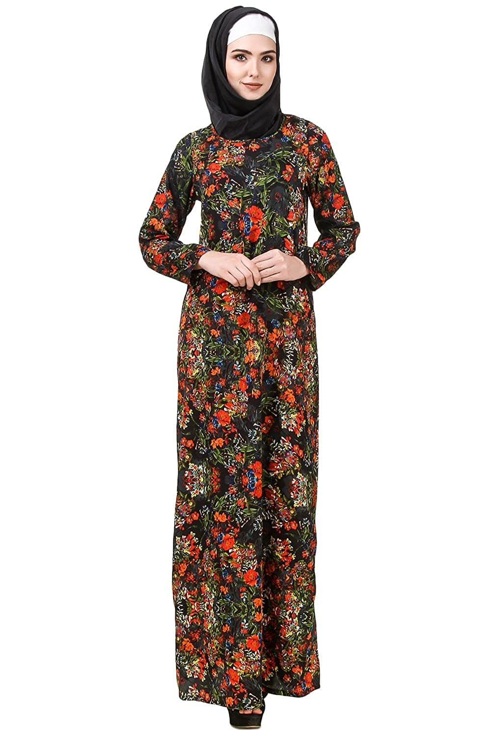 MyBatua Printed Crepe Abaya, Casual and Formal Wear Dress Islamic Clothing