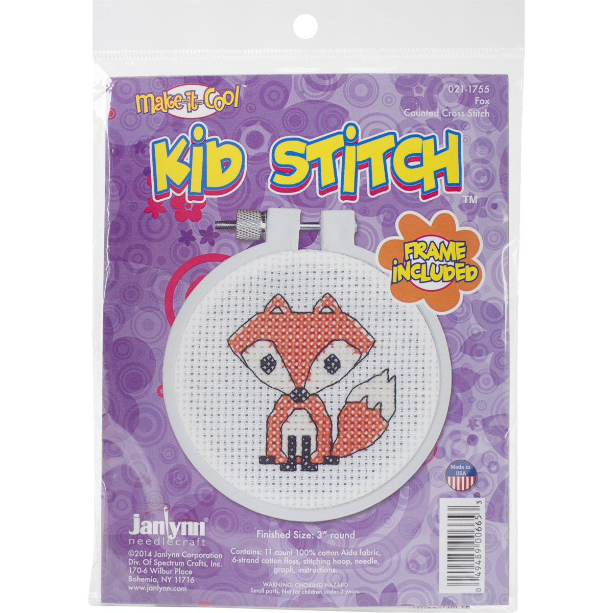 Janlynn Kid Stitch 11 Count Fox Mini Counted Cross Stitch Kit, 3-Inch 21-1755
