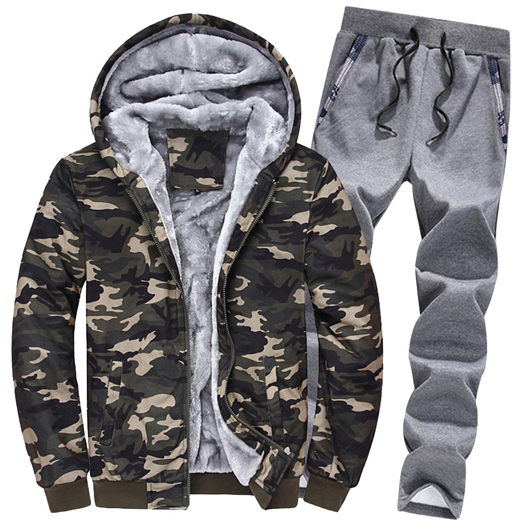 45387bb32021b Material: 100% polyester, high grade natural fabric, soft and skin-care,  comfortable to wear. Mens 2 piece sweat suit: fixed hood camo jacket coat  and ...