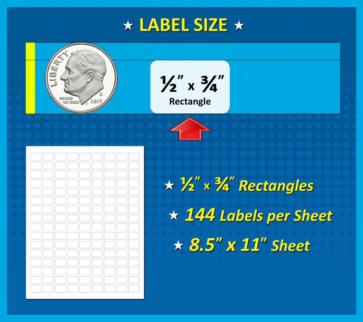 144 Labels per Sheet Pack of 1008 1//2 x 3//4 White Rectangle Labels Fits All Laser//Inkjet Printers 8 1//2 x 11 Inch Sheet 0.5 x 0.75 Inches
