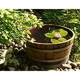 Demi tonneau de vin en bois de chêne transformé en pot de fleurs ou mini étang (diamêtre 70 cm) - Tonneau, fût de chêne, barrique de vin, pot, bac, Jardinière en bois pour le jardin