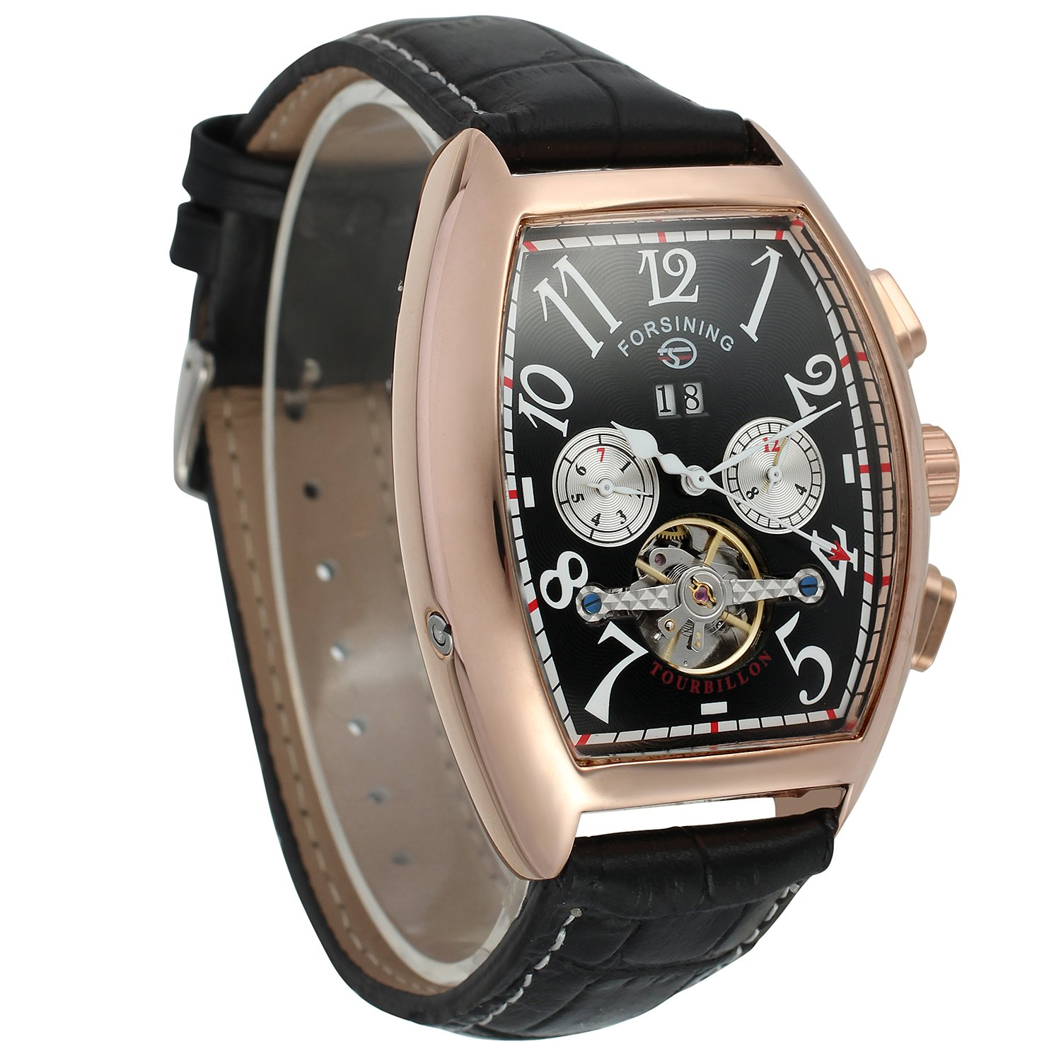 Forsining Men's Automatic Self-winding Tourbillon Calendar Brand Learher Strap Collectiton Watch FSG9409M3R5 by FORSINING (Image #5)