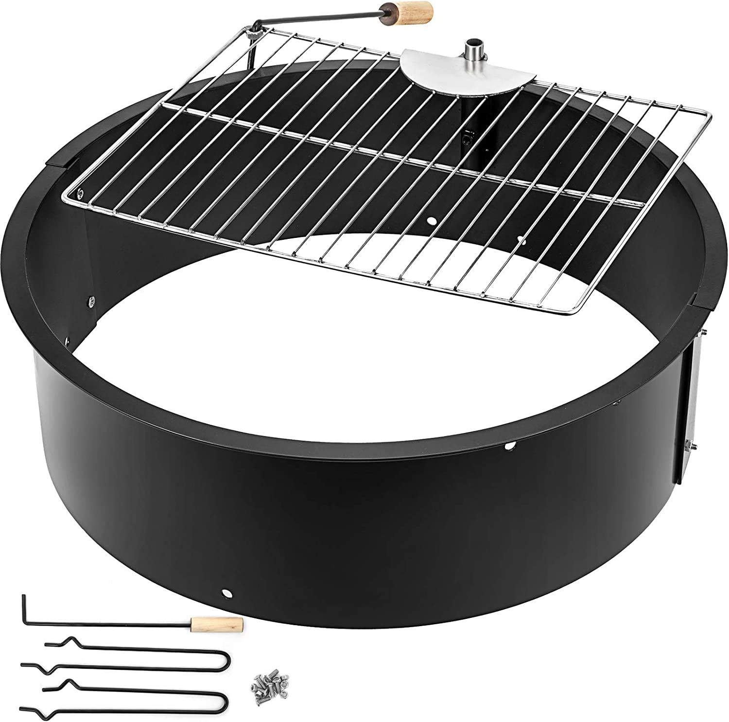 VBENLEM Fire Pit Ring 25.6 Inch Solid Steel with Detachable Grill 3.0mm Thick with Camping Park Grill for Outdoor Camping