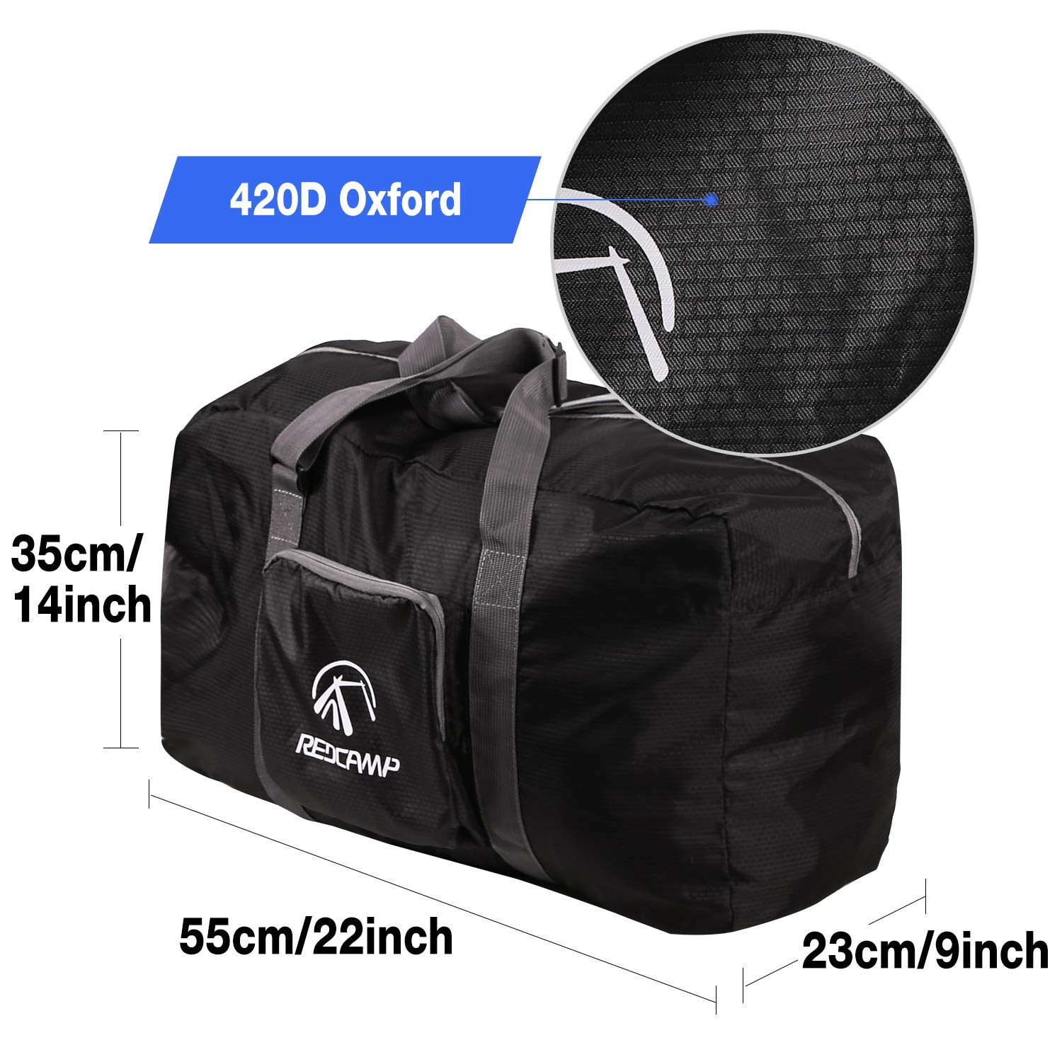 45L//22 Lightweight Travel Duffel Bag Carry On Size for Airplanes Gym Sports REDCAMP Foldable Small Duffle Bag with Shoe Compartment Black