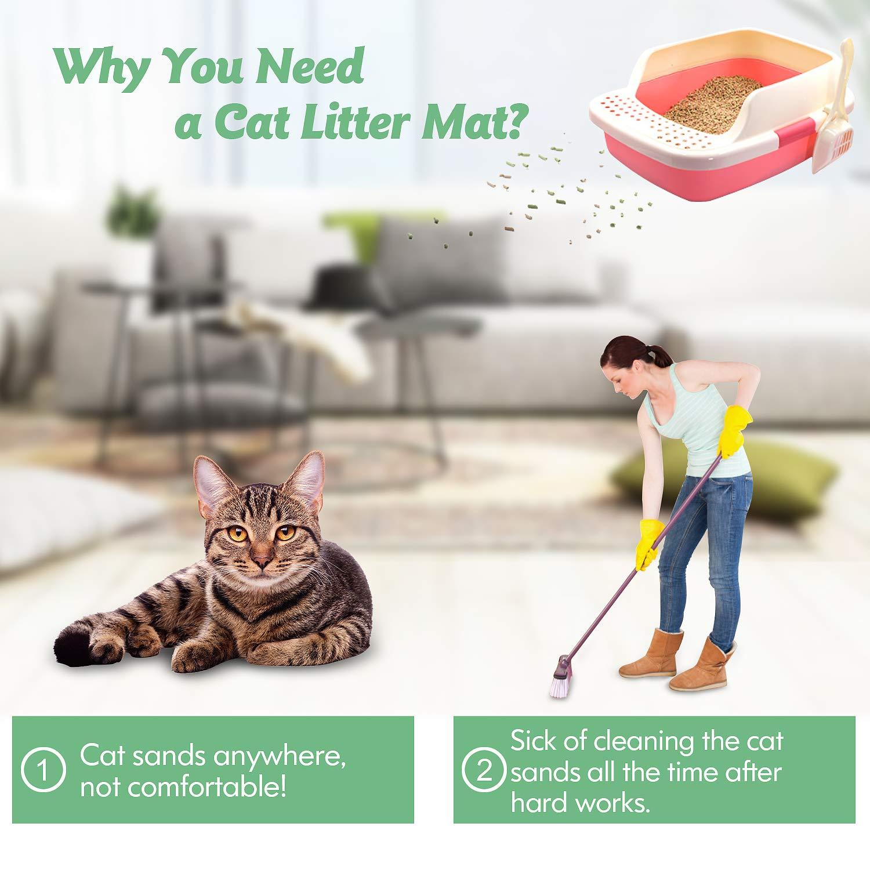 FUNPET Alfombra para Gatos, Prwti 75 * 55cm Impermeable No tóxico Alfombra para Gatos EVA Diseño Plegable de Miel para Capa Doble, para Cat Cleaner, ...