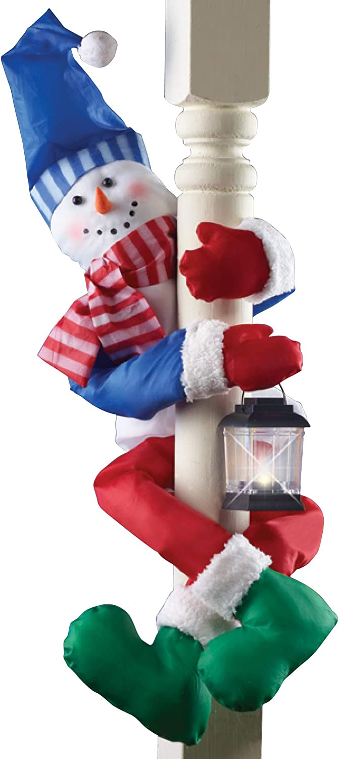 Collections Etc Festive Holiday Snowman Porch Railing or Tree Hugger with Attached Battery-Operated Lantern