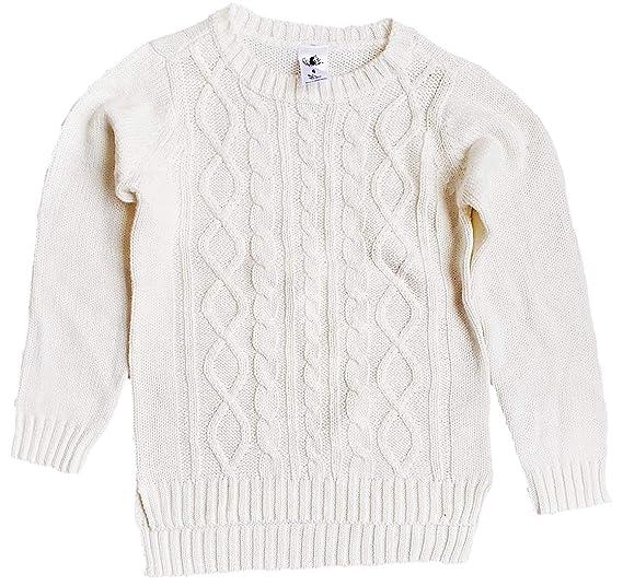 2e79b3cce HALLUCINATION Baby Girls' Woollen Round Neck Pullover Self Design Sweater  (White, 5 Years