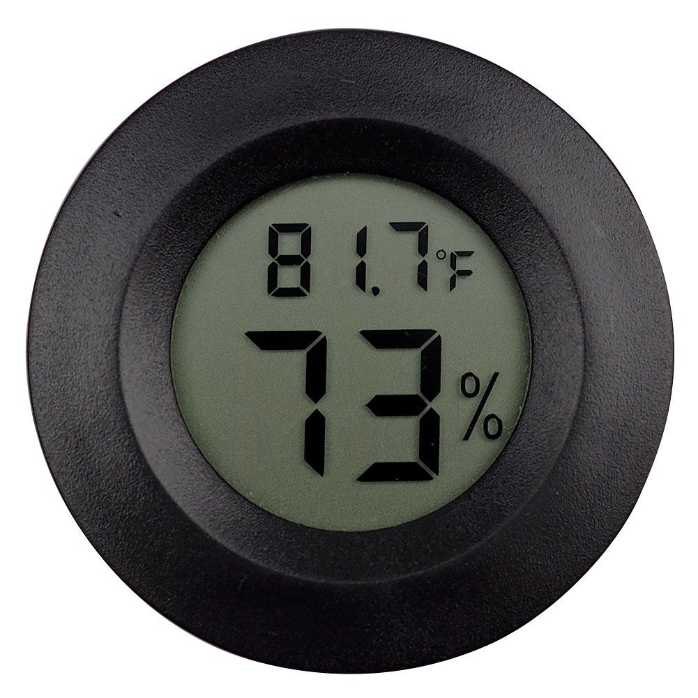 OMEM 2 Pack Digital Reptile Thermometer Switchable Celsius Fahrenheit Lizard Spider Tortoise Terrarium Tank Hygrometer (Black)