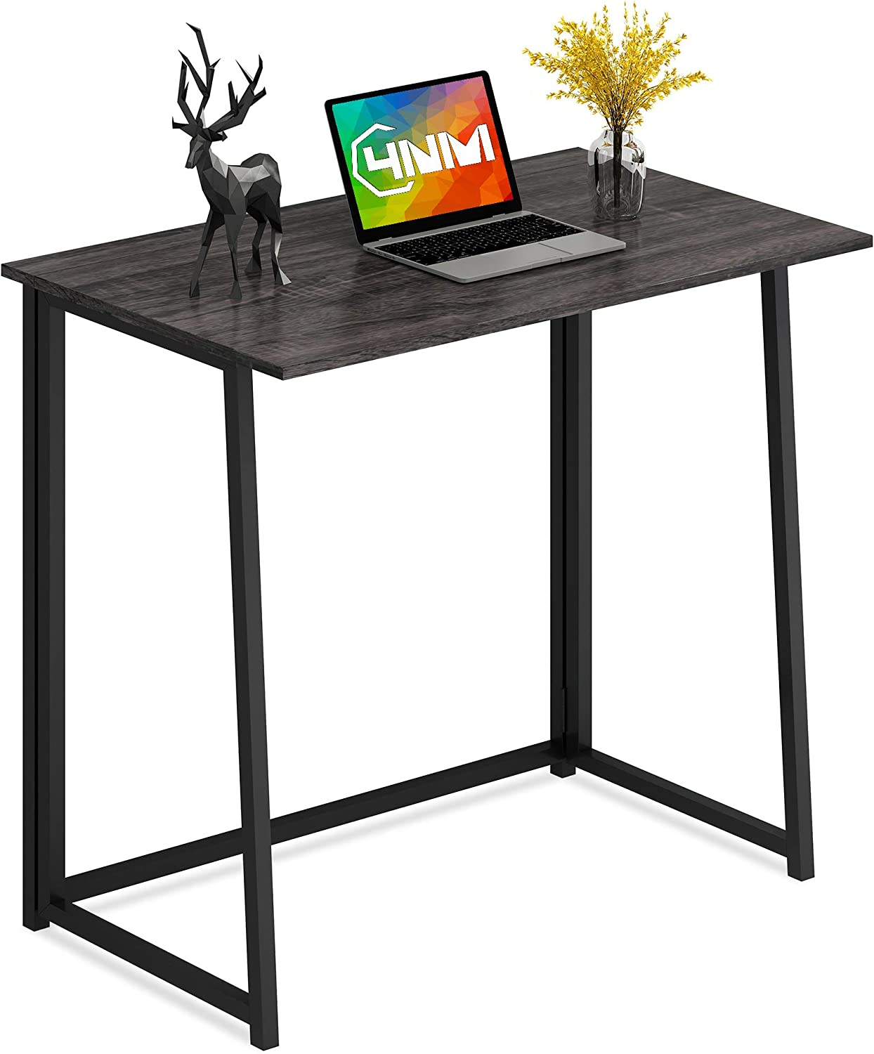 4NM Folding Desk, Small Computer Desk Home Office Desk Foldable Table Workstation for Small Places (Gray and Black)