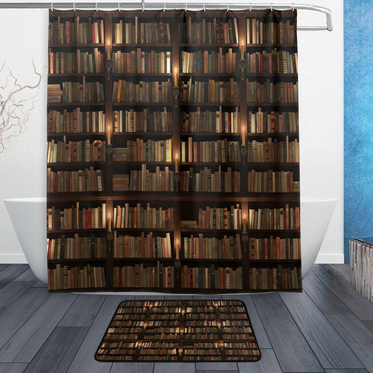 WOZO Library Bookworm Bookshelf Polyester Fabric Bathroom Shower Curtain 60 x 72 inch with Hooks Modern Bathroom Doormat Rug 23.6 x 15.7 inch