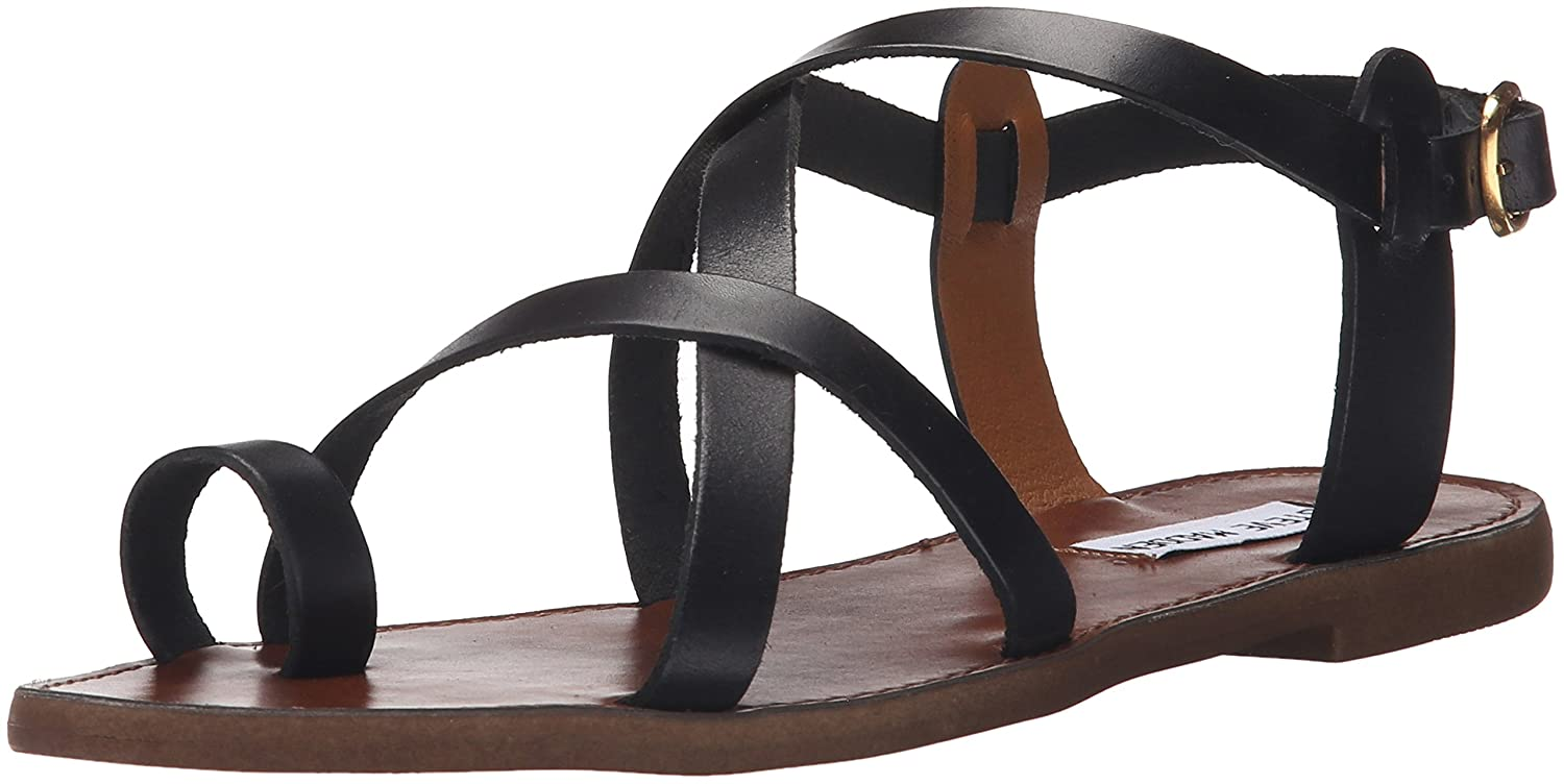 Steve Madden Women's Agathist Sandal B0148IENHK 6 B(M) US|Black Leather
