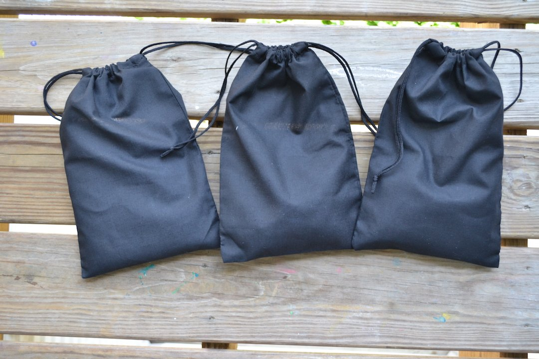 5 x 7 inches Cotton Double Drawstring Muslin Bag. Black Color (100) by BigLotBags (Image #4)