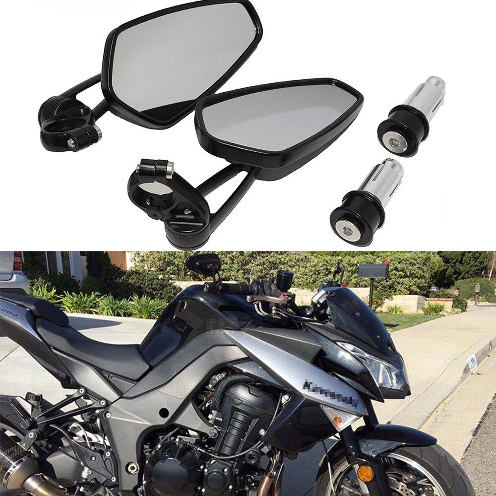 Universale Specchietto Retrovisore Moto 7/8' 22mm Manubrio Specchi per Street Bikes Chopper Sport Bikes - Nero Lady Outlet Mall