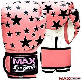 Maxstrength,Guantoni da boxe da donna, in pelle Rex, colore: rosa e nero, per Muay Thai, taglia: 8oz e 10oz