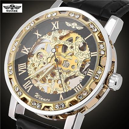 Reloj mecánico, 3 tipos ganadores reloj mecánico automático reloj de pulsera de cuero de PU