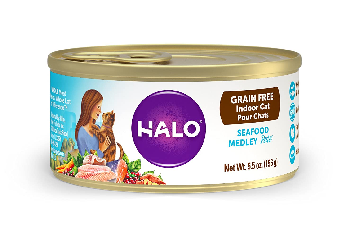 Halo Grain Free Natural Wet Cat Food, Indoor Seafood Medley Recipe, 5.5-Ounce Can (Pack Of 12)