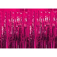 PartyballoonsHK 3 ft x 6 ft Photo Backdrop for Birthday Party Wedding Decor, 1 Pack Black Metallic Tinsel Foil Fringe Curtains Party Decorations (Pack of 1, Pink)