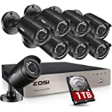 ZOSI 8CH 1080P Security Camera System Outdoor with 1TB Hard Drive H.265+ 8 Channel 5MP Lite Video DVR Recorder with 8X…