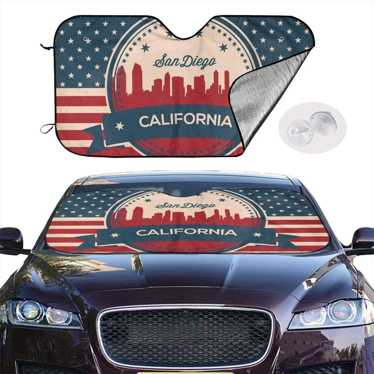 Rayons UV SUV Polyester camions Pare-Soleil r/étro Californie Risating Pare-Soleil pour Voiture Pare-Soleil pour fen/être Avant Blanc minivans r/éflecteur de Chaleur Taille Unique