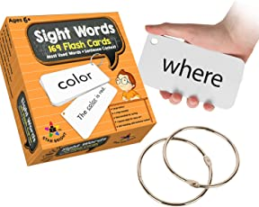 Star Right Education Sight Words Flash Cards, 169 Sight Words and Sentences With 2 Rings