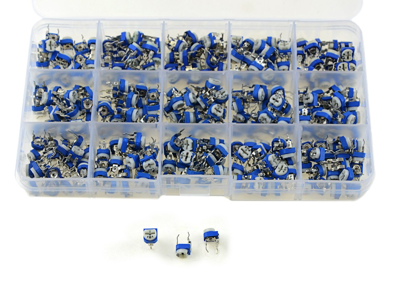 20pcs for each Value XLX 150PCS 1//10 Watt 100 to 1M Ohm Variable Resistor Trimmer Potentiometer Assorted Kit 15 Values with storage box