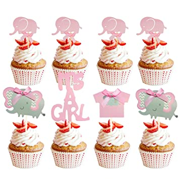 Suhome Pink Elephant Cake Topper Baby Elephant Themed Cupcake Picks It Is A Girl Baby Shower