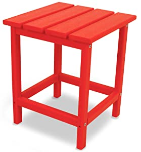 """POLYWOOD ECT18SR Long Island 18"""" Side Table, Sunset Red"""
