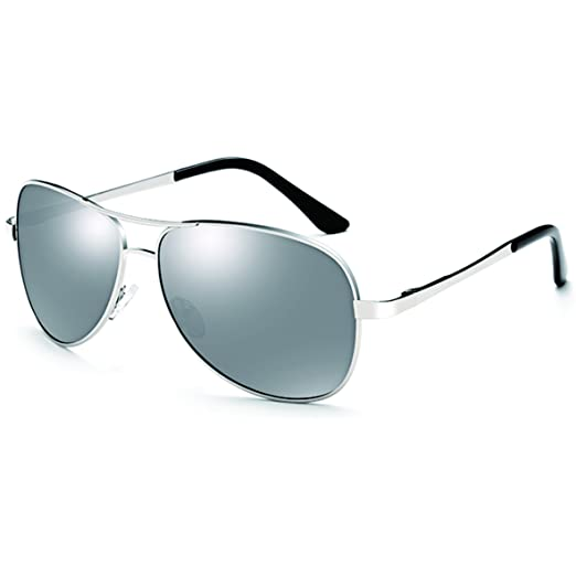 96d07ce9ea Amazon.com  BlackBison Sunglass-Men s Driving-SilverFrame SilverLens ...