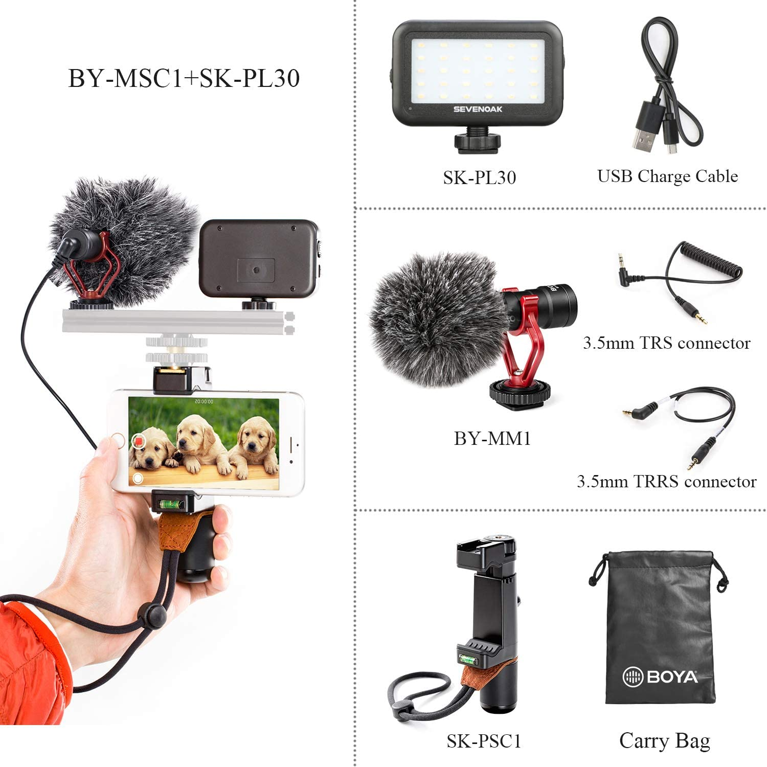 BOYA by-MM1 Shotgun Microphone with PSC1 SmartGrip Selfie Stand with PL30 Light for iPhone X 8 7 7 Plus Samsung Android Smartphone SLR Camera Computer Tripod Vlog Facebook Livestream YouTube Video: Home Audio & Theater