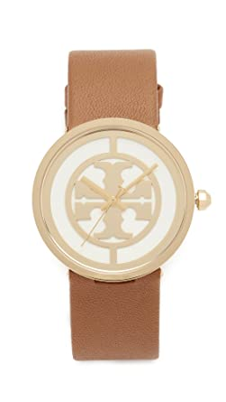 dd1e73db7 Tory Burch Women's The Reva Leather Watch, Gold/Ivory/Luggage, One Size