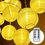 Herefun Luces de Cuerda, Iluminación De Exterior Farolillos, 8 Modos 4.2 Metros 20 LED Guirnalda Luminosa De Linternas…
