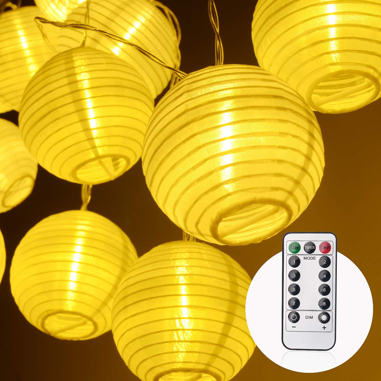 Balcon Blanc Chaud 4.2M 20 LED Guirlande Lumineuse Lanterne Blanc Chaud avec 8 Modes /& IP65 Imperm/éable Lampe Decorative Id/éal pour Jardin Terrasse Herefun Guirlande Lumineuse Lanterne Mariage